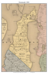 Prudence Island, Rhode Island 1850 - Old Town Map Custom Print - Newport Co.