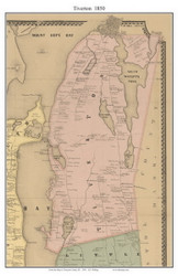 Tiverton, Rhode Island 1850 - Old Town Map Custom Print - Newport Co.