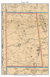 Foster, Rhode Island 1851 - Old Town Map Custom Print - Providence Co.
