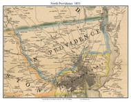 North Providence, Rhode Island 1851 - Old Town Map Custom Print - Providence Co.