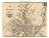 Providence City, Rhode Island 1851 - Old Town Map Custom Print - Providence Co.