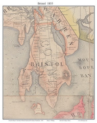 Bristol, Rhode Island 1855 - Old Town Map Custom Print - 1855 State