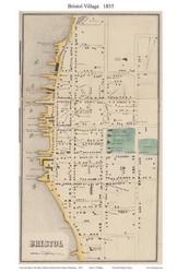 Bristol Village, Rhode Island 1855 - Old Town Map Custom Print - 1855 State