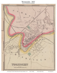 Cumberland Woonsocket, Rhode Island 1855 - Old Town Map Custom Print - 1855 State