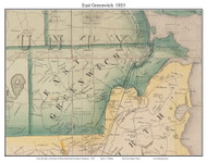East Greenwich, Rhode Island 1855 - Old Town Map Custom Print - 1855 State