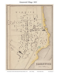 Greenwich Village, Rhode Island 1855 - Old Town Map Custom Print - 1855 State