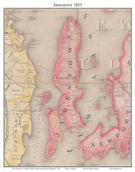 Jamestown, Rhode Island 1855 - Old Town Map Custom Print - 1855 State
