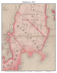 Middletown, Rhode Island 1855 - Old Town Map Custom Print - 1855 State