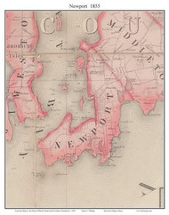 Newport, Rhode Island 1855 - Old Town Map Custom Print - 1855 State