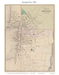 Newport City, Rhode Island 1855 - Old Town Map Custom Print - 1855 State