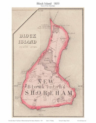 New Shoreham Block Island, Rhode Island 1855 - Old Town Map Custom Print - 1855 State