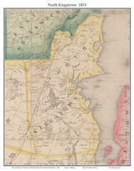North Kingstown, Rhode Island 1855 - Old Town Map Custom Print - 1855 State