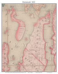 Portsmouth, Rhode Island 1855 - Old Town Map Custom Print - 1855 State