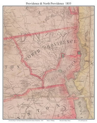 Providence and North Providence, Rhode Island 1855 - Old Town Map Custom Print - 1855 State