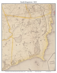 South Kingstown, Rhode Island 1855 - Old Town Map Custom Print - 1855 State
