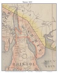 Warren, Rhode Island 1855 - Old Town Map Custom Print - 1855 State