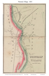 Westerly Village, Rhode Island 1855 - Old Town Map Custom Print - 1855 State
