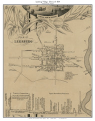 Leesburg Village - Loudoun County, Virginia 1854 Old Town Map Custom Print - Loudoun Co.