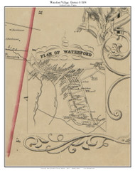 Waterford Village - Loudoun County, Virginia 1854 Old Town Map Custom Print - Loudoun Co.