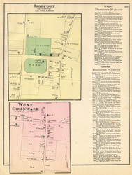 Bridport and West Cornwall Villages, Vermont 1871 Old Town Map Reprint - Addison Co.