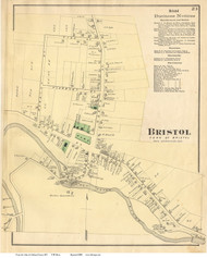 Bristol Village, Vermont 1871 Old Town Map Reprint - Addison Co.