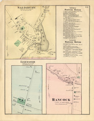 Hancock, Salisbury, and Leicester Villages, Vermont 1871 Old Town Map Reprint - Addison Co.