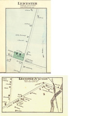Leicester and Leicester Junction Villages, Vermont 1871 Old Town Map Reprint - Addison Co.