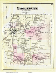 Middlebury, Vermont 1871 Old Town Map Reprint - Addison Co.