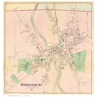 Middlebury Village, Vermont 1871 Old Town Map Reprint - Addison Co.