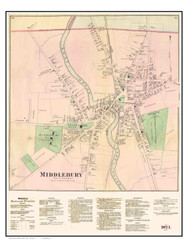 Middlebury Village and Business Directory, Vermont 1871 Old Town Map Reprint - Addison Co.