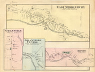 East Middlebury, Granville, Granville Centre and Ripton Villages, Vermont 1871 Old Town Map Reprint - Addison Co.