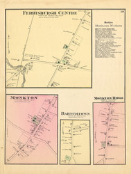 Monkton, Ferrisburgh Centre, Barnumtown, and Monkton Ridge Villages , Vermont 1871 Old Town Map Reprint - Addison Co.