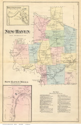 New Haven Town, New Haven Mills and Brooksville Villages, Vermont 1871 Old Town Map Reprint - Addison Co.