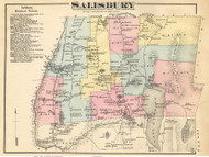 Salisbury, Vermont 1871 Old Town Map Reprint - Addison Co.