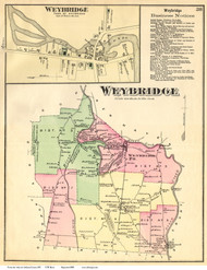 Weybridge and Weybridge Village, Vermont 1871 Old Town Map Reprint - Addison Co.