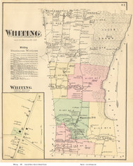 Whiting and Whiting Village, Vermont 1871 Old Town Map Reprint - Addison Co.