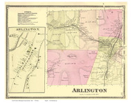 Arlington and Arlington Village, Vermont 1869 Old Town Map Reprint - Bennington Co.