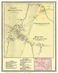 East Arlington, West Arlington, Chiselville and Mount Pleasant Villages, Vermont 1869 Old Town Map Reprint - Bennington Co.