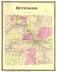 Bennington, Vermont 1869 Old Town Map Reprint - Bennington Co.