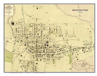 Bennington Downtown, Vermont 1869 Old Town Map Reprint - Bennington Co.