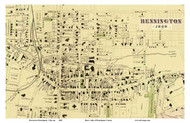 Bennington Downtown - Closeup, Vermont 1869 Old Town Map Reprint - Bennington Co.
