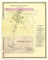 North Bennington Village and Paper Mill Village, Vermont 1869 Old Town Map Reprint - Bennington Co.