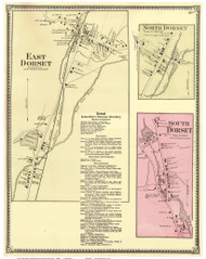 East Dorset, North Dorset, and South Dorset Villages, Vermont 1869 Old Town Map Reprint - Bennington Co.