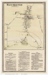 Manchester Village and Business Directory, Vermont 1869 Old Town Map Reprint - Bennington Co.