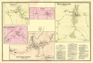 Manchester, Factory Point, West Rupert, Dorset, and Peru Villages, Vermont 1869 Old Town Map Reprint - Bennington Co.