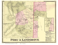 Peru and Landgrove Towns, Clarksville Village, Vermont 1869 Old Town Map Reprint - Bennington Co.