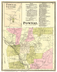 Pownal Town and Pownal Centre Village, Vermont 1869 Old Town Map Reprint - Bennington Co.