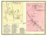 Pownal and North Pownal Villages, Vermont 1869 Old Town Map Reprint - Bennington Co.