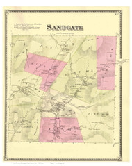 Sandgate, Vermont 1869 Old Town Map Reprint - Bennington Co.