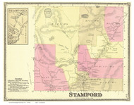 Stamford and Stamford Village, Vermont 1869 Old Town Map Reprint - Bennington Co.